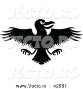 Vector of an Evil Cartoon Crow with Wings Spread out - Black and White by Zooco