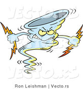 Vector of an Evil Cartoon Tornado Armed with Bolts of Lightning by Toonaday