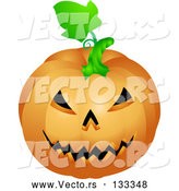 Vector of an Evil Jackolantern Halloween Pumpkin Carving by AtStockIllustration