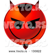 Vector of an Evil Red Emoticon with Devil Horns and Goatee by Tonis Pan
