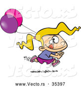 Vector of an Excited Cartoon Girl Running with Pink and Purple Birthday Party Balloons by Toonaday