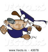 Vector of an Excited Cartoon Graduate Dog Running with a Diploma by Toonaday