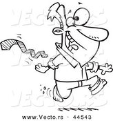 Vector of an Excited Cartoon Man Ripping His Tie off and Running Bare Foot - Coloring Page Outline by Ron Leishman