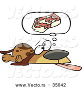 Vector of an Exhausted Cartoon Basset Hound Dog Hoping for Steak by Toonaday
