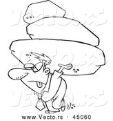 Vector of an Exhausted Man Carrying a Heavy Load of Boulders - Cartoon Concept Lineart by Toonaday
