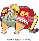 Vector of an Imposing Cartoon American Football Player Ready to Charge Forward by Ron Leishman
