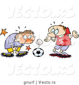 Vector of an Injured Cartoon Soccer Player Grabbing His Groin After a Hit by the Ball by Gnurf