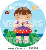 Vector of an Interested Boy Wearing an Inner Tube and Holding a Butterfly While Standing near the Beach on a Hot Summer Day by Vitmary Rodriguez