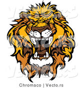 Vector of an Intimidating African Lion Roaring by Chromaco