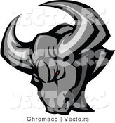 Vector of an Intimidating Bull with Red Eyed and Sharp Horns by Chromaco
