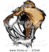 Vector of an Intimidating Cartoon Saber Tooth Tiger Head Growling by Chromaco