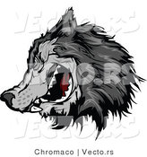Vector of an Intimidating Gray Wolf Mascot Character by Chromaco