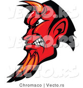 Vector of an Intimidating Red Devil with Horns and Goatee, Gritting Teeth by Chromaco