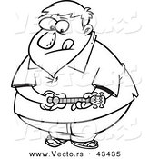 Vector of an Obese Cartoon Man Playing a Ukelele - Coloring Page Outline by Toonaday