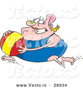 Vector of an Obese Cartoon Woman Running with a Beach Ball While Wearing a One Piece Swimsuit by Toonaday