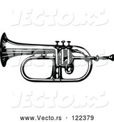 Vector of an Old Black and White Bugle Horn by Prawny Vintage