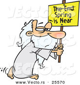 "Vector of an Old Cartoon Man Carrying ""Spring Is Near"" Sign with ""The End"" Criss-Crossed out by Toonaday"