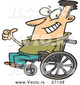 August 20th, 2016: Vector of an Optimistic Man Sitting on a Wheelchair - Cartoon Style by Ron Leishman