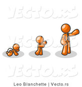 Vector of an Orange Guy in His Growth Stages of Life, As a Baby, Child and Adult by Leo Blanchette