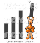 Vector of an Orange Guy on Another Guy's Shoulders Raising a Bar in a Graph by Leo Blanchette