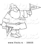Vector of an Outlined 2013 Cartoon Santa by Djart