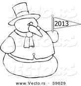 Vector of an Outlined 2013 Snowman by Djart