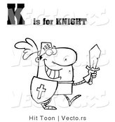 Vector of an Outlined Knight with Letter K by Hit Toon