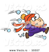 Vector of an Outnumbered Boy Running from a Snowball Fight by Toonaday