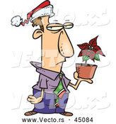 Vector of an Unhappy Cartoon Employee Holding a Potted Poinsettia Plant While Wearing a Santa Hat by Toonaday