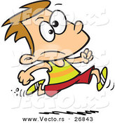 Vector of an Unsure Cartoon Boy Running Track by Ron Leishman