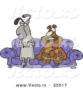 Vector of an Unsure Llama and Bear Sitting on a Love Seat Together by Toonaday
