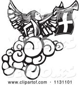 Vector of Angel Playing a Trumpet Black and White Woodcut by Xunantunich