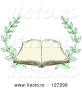 Vector of Antique Book Open with Blank Pages and Branches by BNP Design Studio