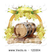 Vector of Arch of White Grapes and a Banner over a Wine Barrel by Merlinul