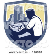 Vector of Architect Man Drawing Plans over Skyscrapers in a Shield by Patrimonio