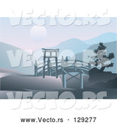 Vector of Asian Footbridge Spanning Through Hills with a Full Moon over Mountains by Eugene