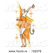 Vector of Attractive Lady in a Tight Orange Dress, Gloves and Tall Boots and Forked Devil Tail, Dancing While Drinking at a Halloween Party by Andy Nortnik