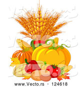 Vector of Autumn Harvest Vegetables and Leaves by Pushkin