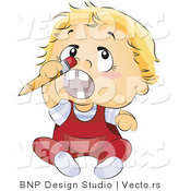 Vector of Baby Boy Trying to Stick a Pencil up His Nose by BNP Design Studio