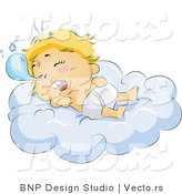 Vector of Baby Drooling While Sleeping on a Comfy Cloud by BNP Design Studio