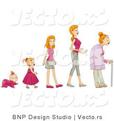 Vector of Baby Girl Shown in Stages of Growth to a Teen, Woman and Senior by BNP Design Studio