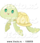 Vector of Baby Sea Turtle with Big Green Eyes by Pushkin