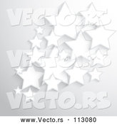 Vector of Background of 3d White Stars over Gray by KJ Pargeter