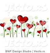 Vector of Background of Blooming Love Hearts over White Background Version 4 by BNP Design Studio