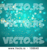 Vector of Background of Gold Stars and Bokeh Flares on Turquoise by KJ Pargeter