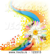 Vector of Background of Honey Bees on a Daisy Rainbow Wave with Honeycombs by Merlinul