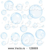 Vector of Background of Transparent Blue Floating Bubbles by Oligo