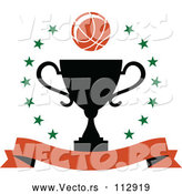 Vector of Basketball over a Black Trophy in a Circle of Stars with a Blank Banner by Vector Tradition SM
