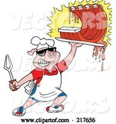 Vector of Bbq Pig Carrying Dripping Ribs by LaffToon