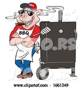 Vector of Bbq Pig Smoking a Cigar and Leaning Against a Smoker by LaffToon